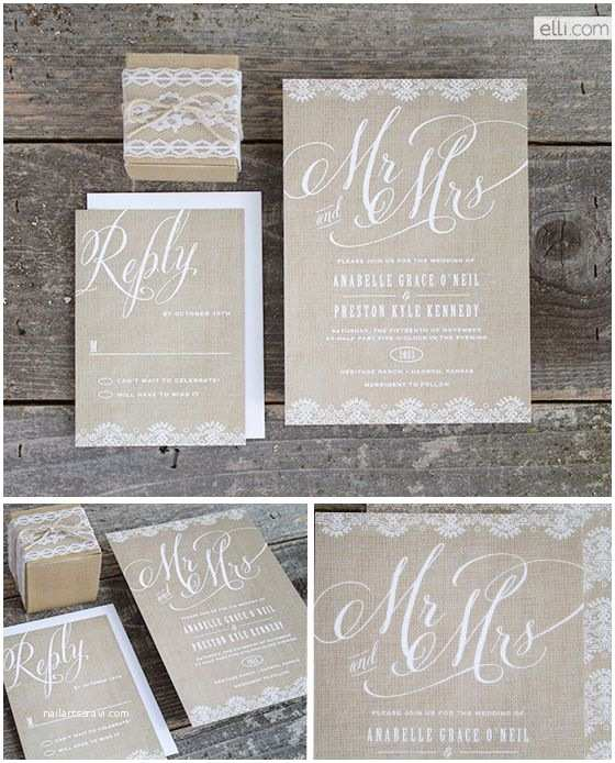 Mr and Mrs Wedding Invitations Burlap Mr and Mrs Wedding Invitation Suite