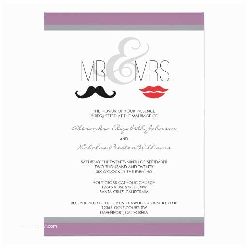 Mr and Mrs Wedding Invitations Mr & Mrs Mustache & Lipstick Wedding Invitation