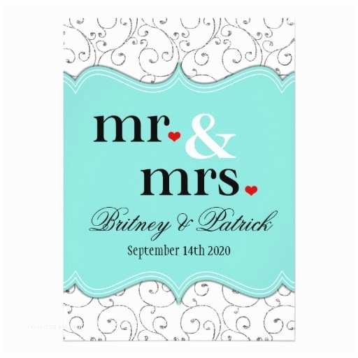 Mr and Mrs Wedding Invitations Mr & Mrs Tiffany Blue Wedding Invitations