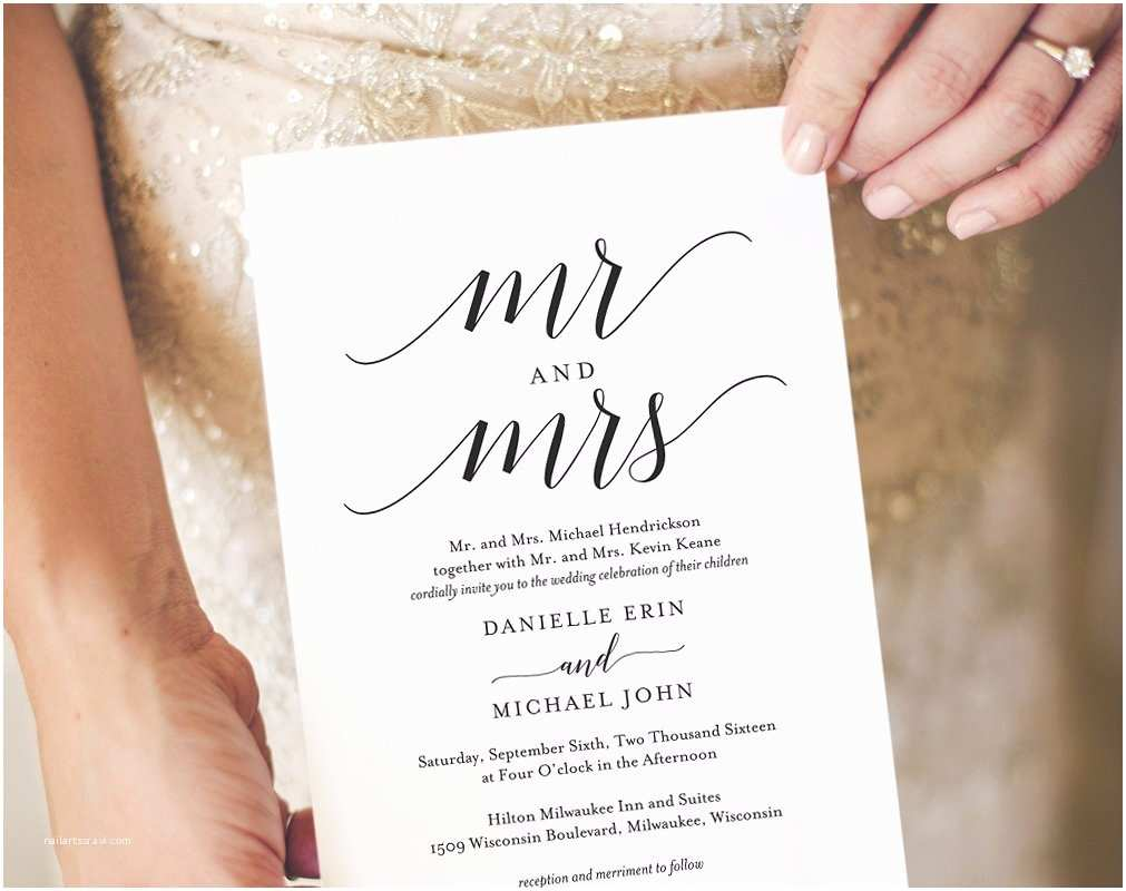 Mr and Mrs Wedding Invitations Mr & Mrs Wedding Invitation Template Invitation