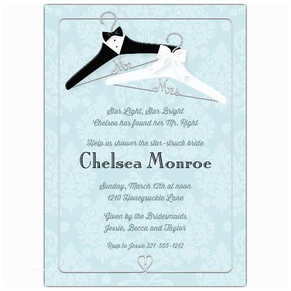 Mr and Mrs Wedding Invitations Mr and Mrs Hangers Bridal Shower Invitations