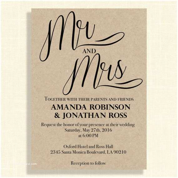 Mr and Mrs Wedding Invitations Mr and Mrs Kraft Wedding Invitations Mr and by