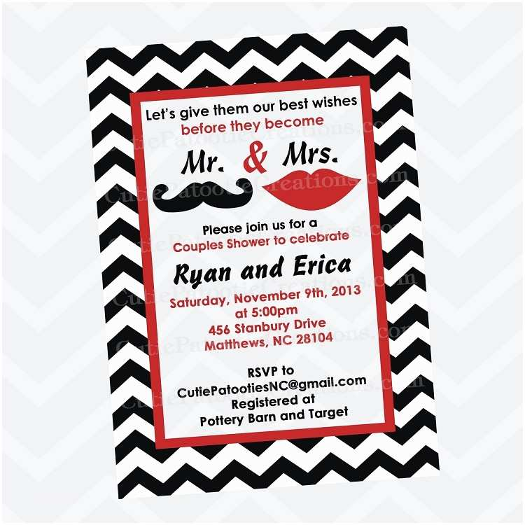 Mr and Mrs Wedding Invitations Mr and Mrs Mustache and Lips Bridal Shower Invitations