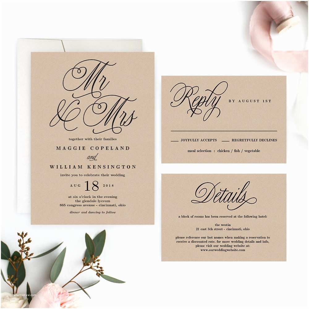 Mr and Mrs Wedding Invitations Mr and Mrs Wedding Invitation – Printable