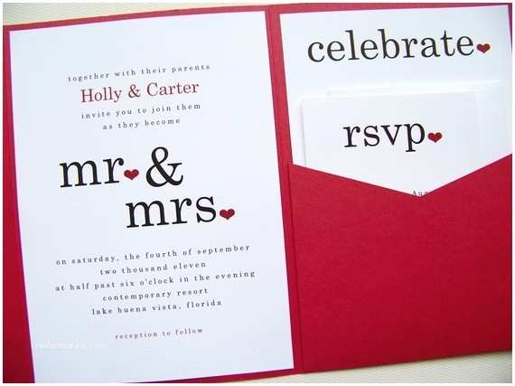 Mr and Mrs Wedding Invitations Mr and Mrs Wedding Invitations Pocketfold Invitations