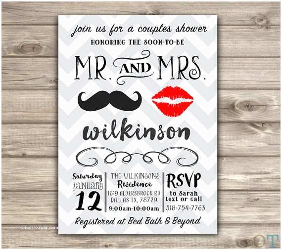 Mr and Mrs Wedding Invitations Mr and Mrs Wedding Shower Invitations Rustic Simple Bridal