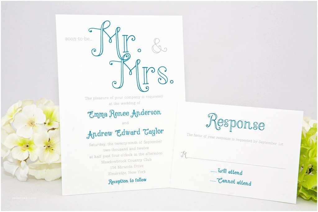 Mr and Mrs Wedding Invitations Pretty Calligraphy Wedding Invitations Mr and Mrs themed