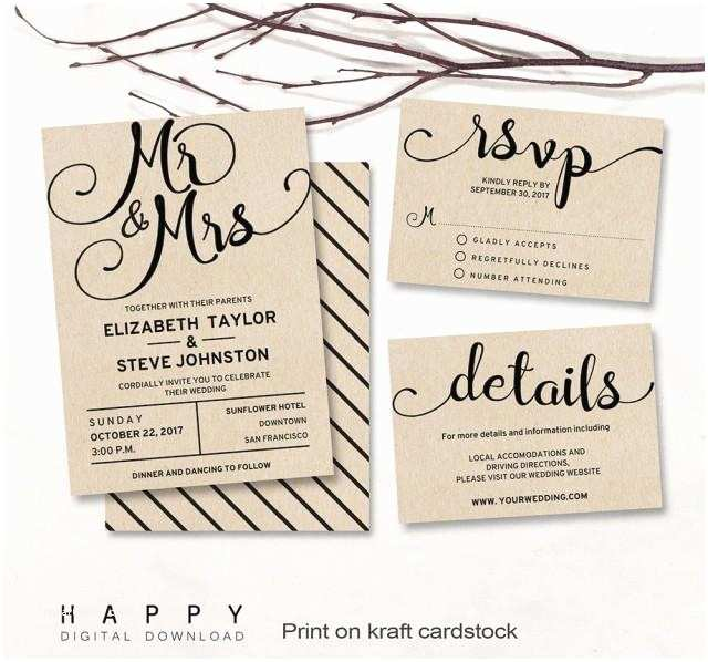 Mr and Mrs Wedding Invitations Printable Wedding Invitation Set Editable Modern Wedding