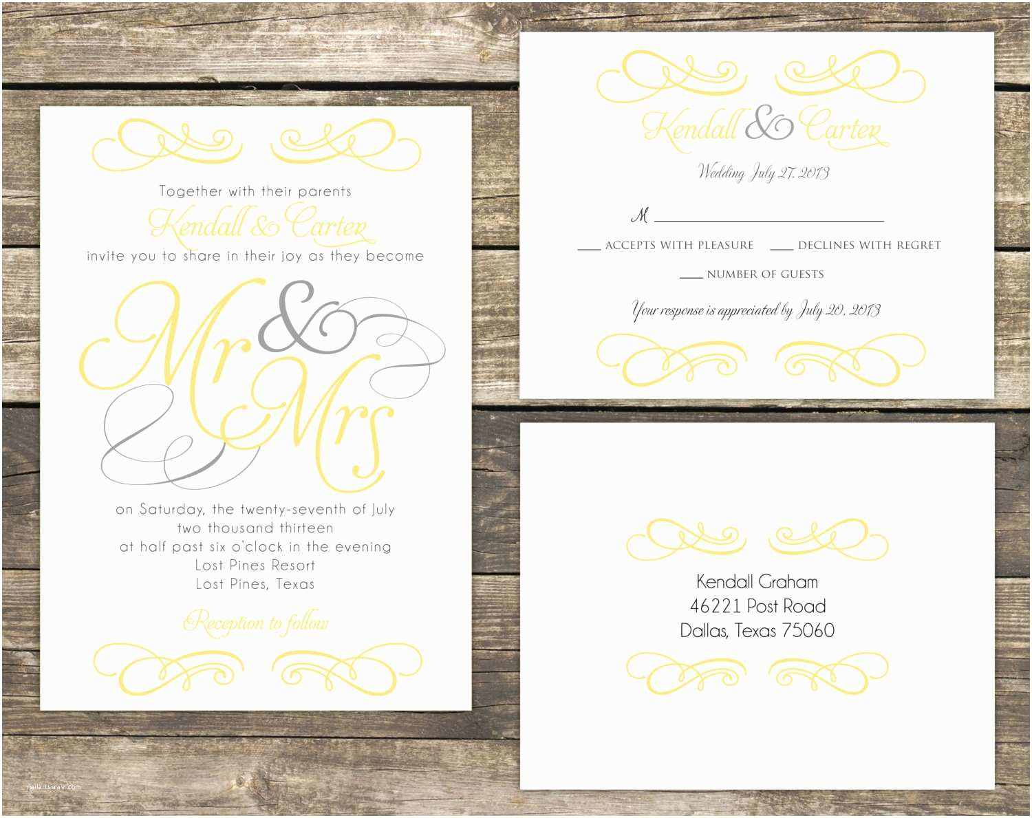 Mr and Mrs Wedding Invitations Printable Wedding Invitation Suite Diy Mr and Mrs Yellow and