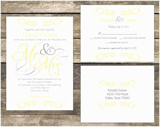 printable wedding invitation suite diy mr and mrs yellow and gray wedding collection colors and wording can be customized
