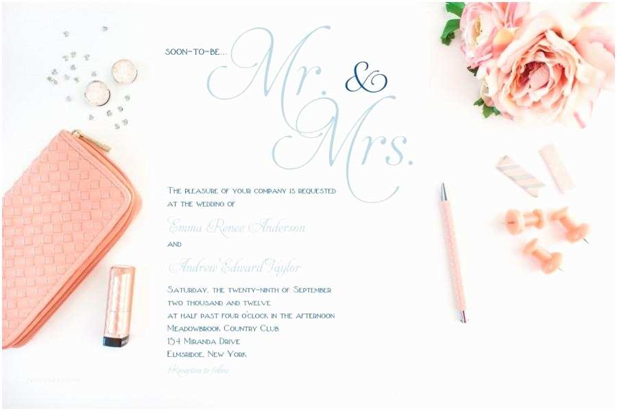 Mr and Mrs Wedding Invitations Simple Classy Wedding Invitations Blue Wedding Invitation