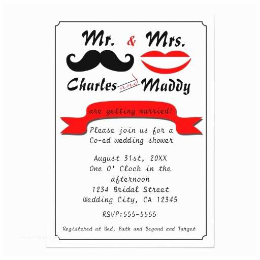 Mr and Mrs Wedding Invitations Vintage Moustache Mr & Mrs Wedding Invitations