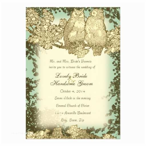 Mr and Mrs Wedding Invitations Vintage Mr and Mrs Owl Wedding Invitation