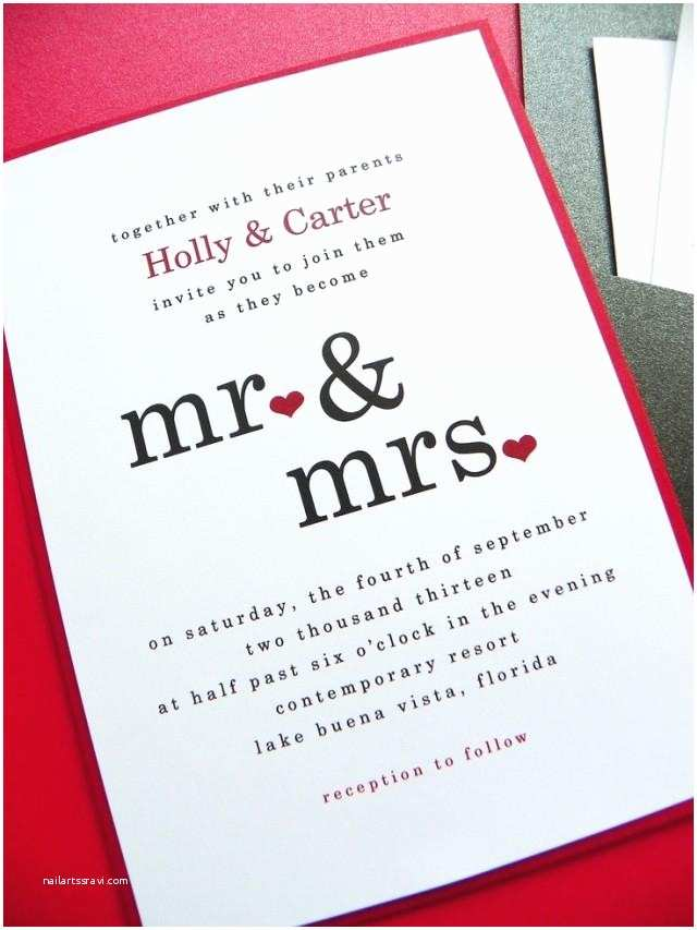 Mr and Mrs Wedding Invitations Wedding Invitation Mr & Mrs Pocket Card Wedding
