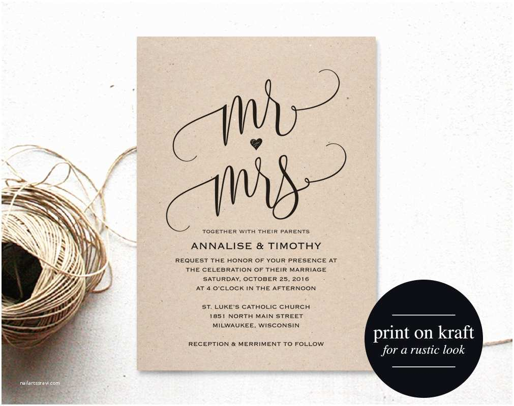 Mr and Mrs Wedding Invitations Wedding Invitation Template Mr and Mrs Wedding Invitation