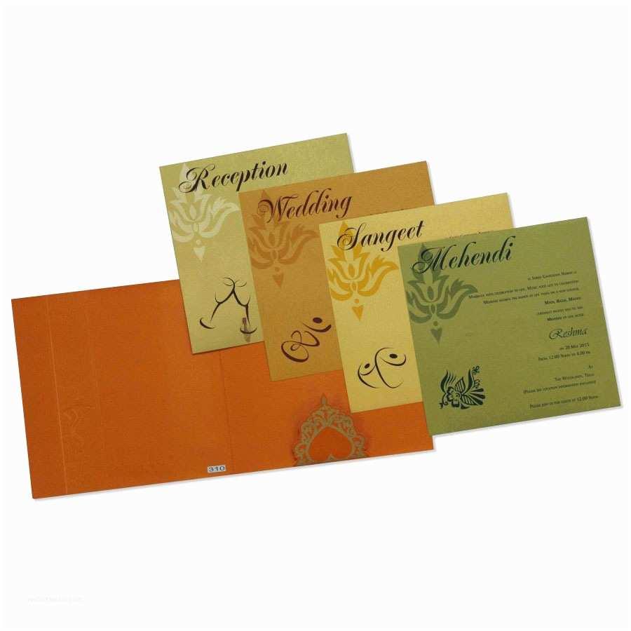 Multi Color Wedding Invitations Hindu Wedding Invitation In orange with Multi Color Inserts