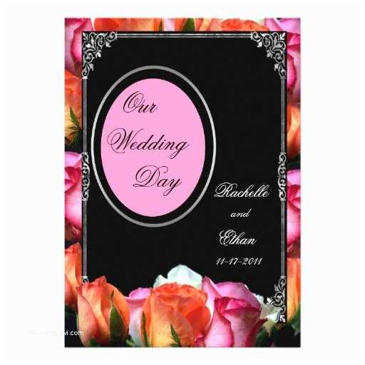 Multi Color Wedding Invitations Pink & Black Multi Color Roses Wedding Invitations