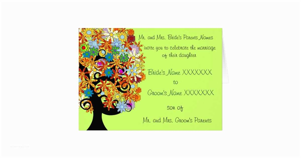 Multi Color Wedding Invitations Wedding Invitation Multi Colored Flower Love Tree