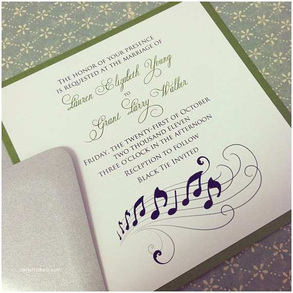 Music themed Wedding Invitations Music Note Romantic Wedding Invitation Suite the