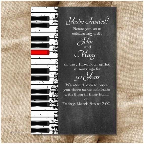 Music themed Wedding Invitations Printable 30th 40th 50th 60th Wedding Anniversary or