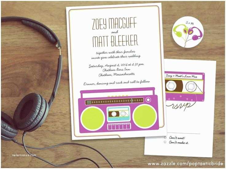 Music themed Wedding Invitations Retro Boombox In Mixtape Music theme Wedding Invitation