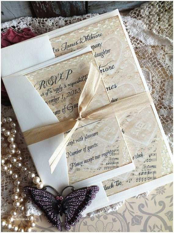 Music themed Wedding Invitations Vintage Lace & Sheet Music Wedding Invitation by