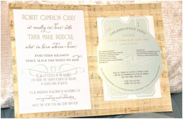 Music themed Wedding Invitations Vintage Music theme Wedding Invitation