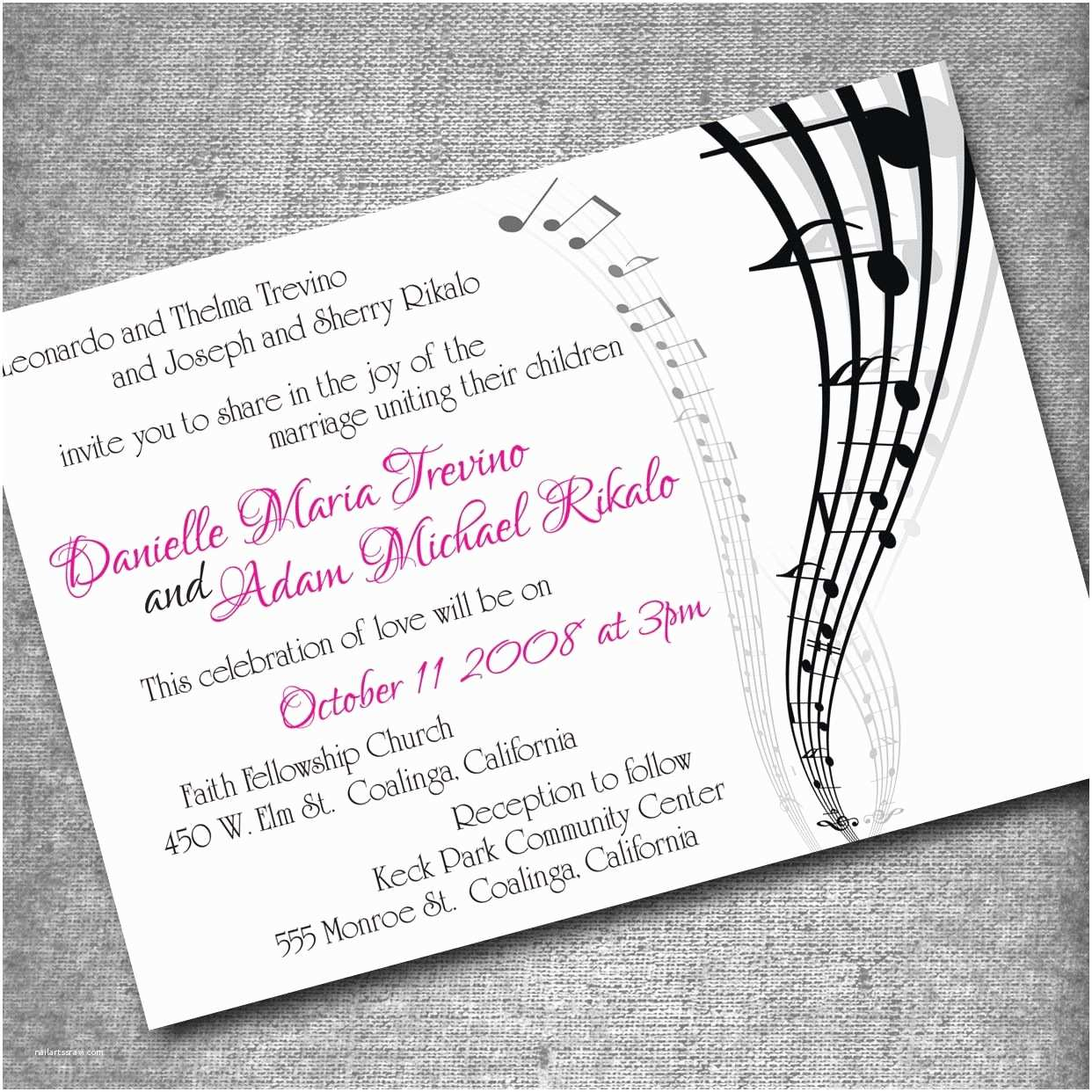 Music Wedding Invitations Music themed Invites Birthday Instead Of Wedding