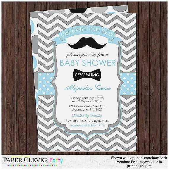 Mustache and Bow Tie Baby Shower Invitations Baby Shower Invitation New Mustache and Bow Tie Baby