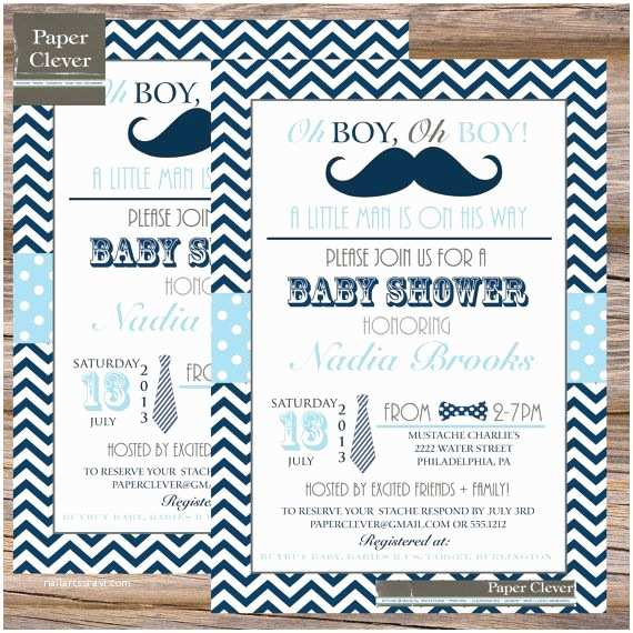 Mustache And Bow Tie Ba Shower Invitations Boys Ba Shower Invitation Bow Tie Mustache Navy