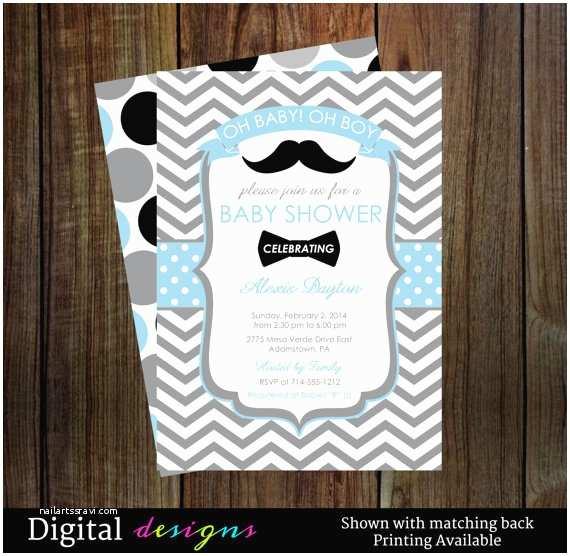 Mustache and Bow Tie Baby Shower Invitations Boys Mustache Baby Shower Invitations Little Man