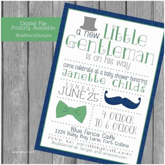 Mustache And  Tie Baby Shower Invitations Little Gentleman Baby Boy Shower Invitations Top Hat