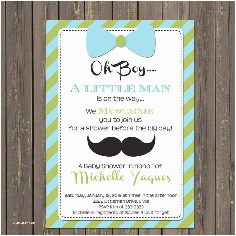 Mustache and Bow Tie Baby Shower Invitations Little Man Baby Shower Invitation Little Man Shower Invite