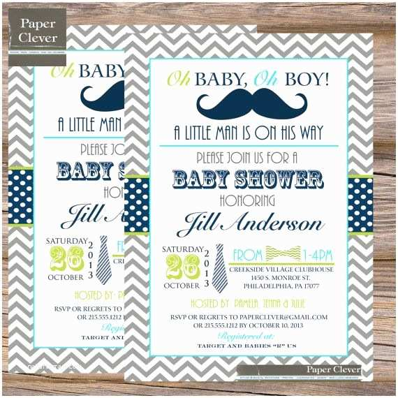 Mustache and Bow Tie Baby Shower Invitations Mustache and Bow Tie Baby Shower Invitations