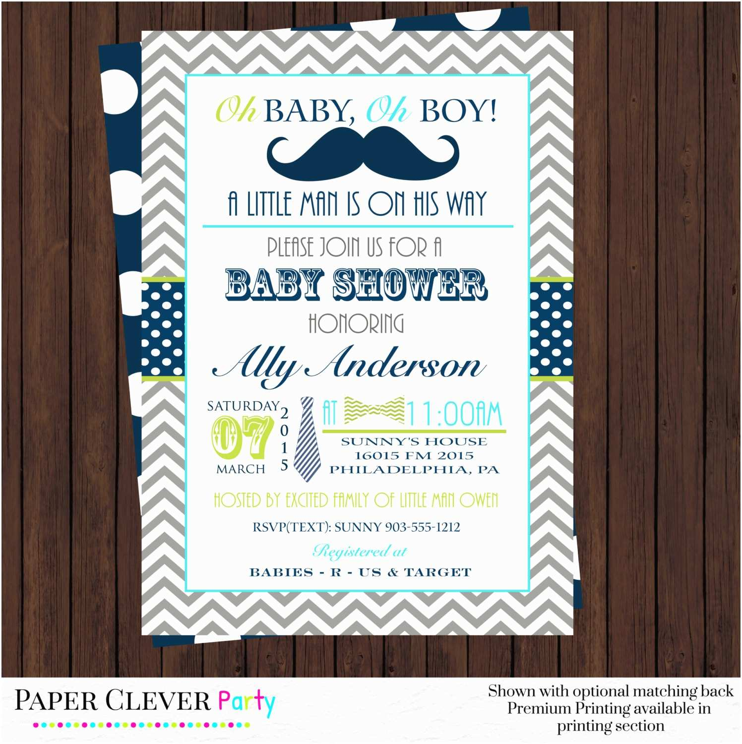 Mustache And Bow Tie Baby Shower Invitations Mustache Baby Shower Invitations Bow Tie By