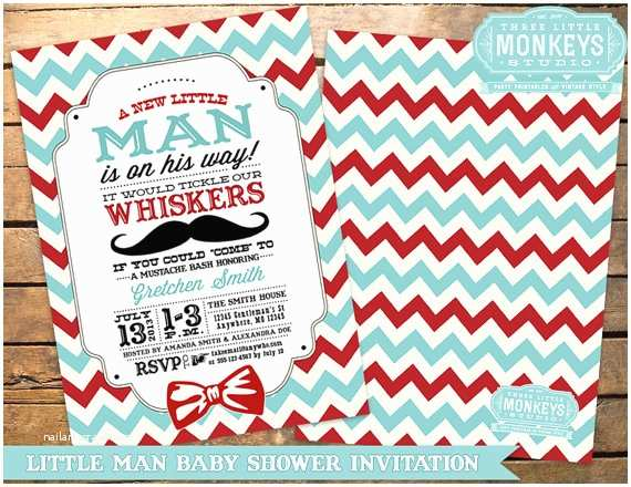 Mustache And Bow Tie  Shower Invitations Vintage Little Man Or Little Mister Mustache Bow Tie