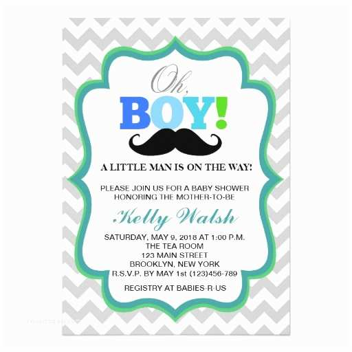 Mustache Baby Shower Invitations Oh Boy Mustache Baby Shower Invitations Chevron
