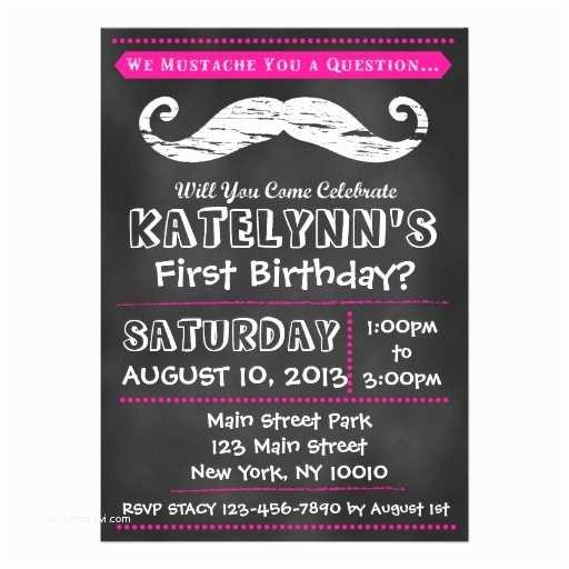 Mustache Birthday Invitations Girl Chalkboard Mustache Birthday Invitation