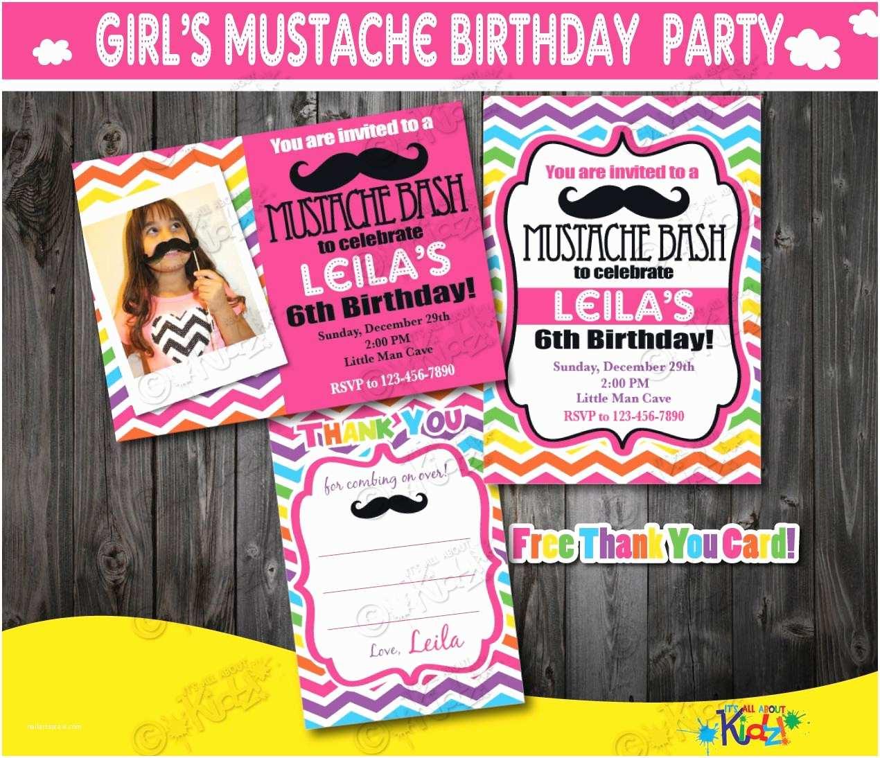 Mustache Birthday Invitations Girl Mustache Party Invitation Mustache Birthday Party