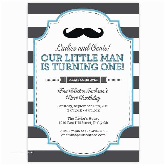 Mustache Birthday Invitations Little Man Mustache Invitation – Ellison Reed