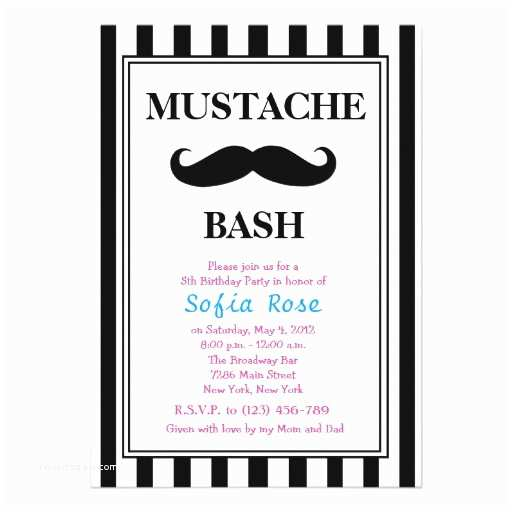 Mustache Birthday Invitations Moustache Bash Birthday Invitation