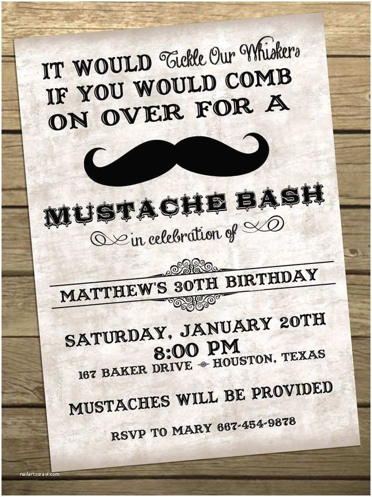 Mustache Birthday Invitations Mustache Bash Birthday Party Invitation Printable
