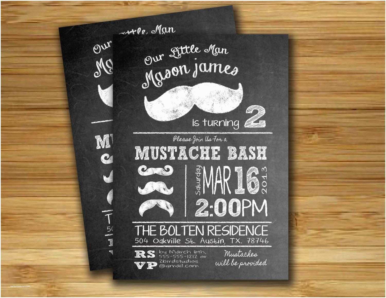 Mustache Birthday Invitations Mustache Bash Mustache Birthday Party Invitation