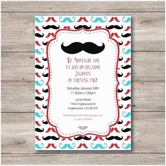 Mustache Birthday Invitations Mustache Invitation with Editable Text Mustache Party