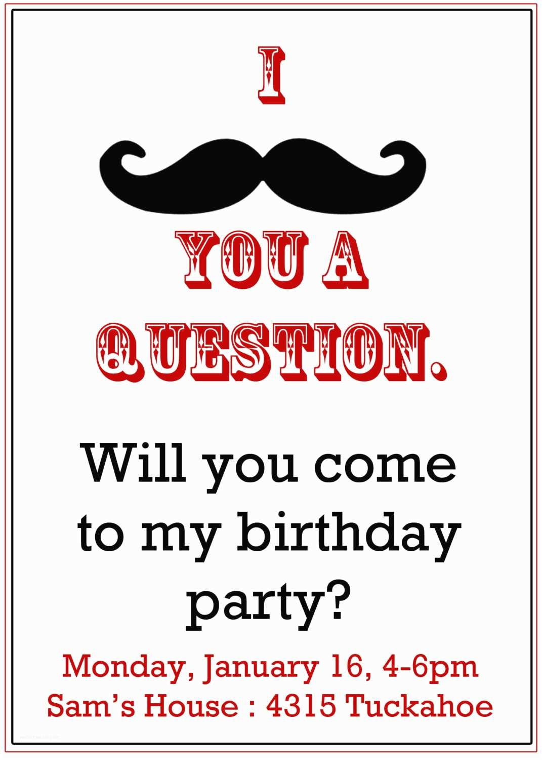 Mustache Birthday Invitations Mustache Party Invitation Boy S Birthday Invitation by