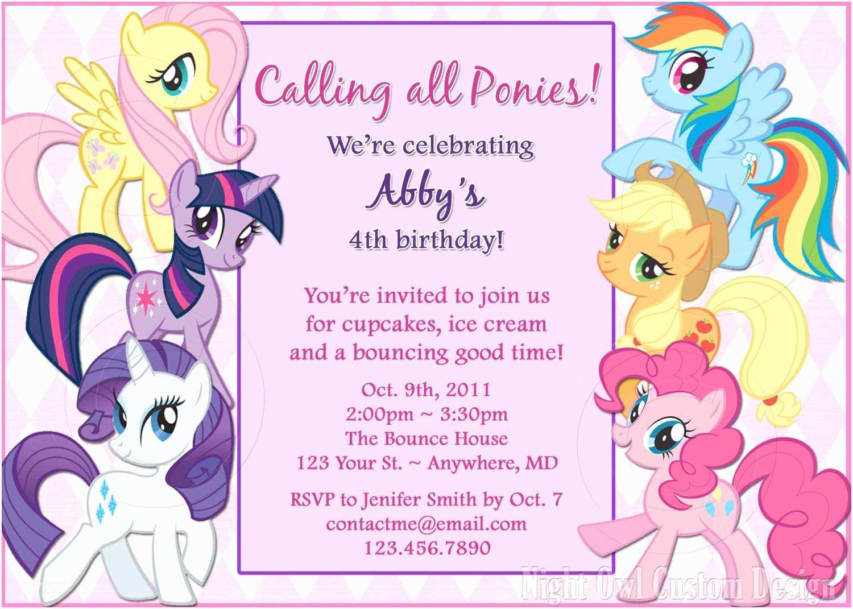 My Little Pony Birthday Invitations My Little Pony Birthday Invitation Diy by Nightowlcustomdesign