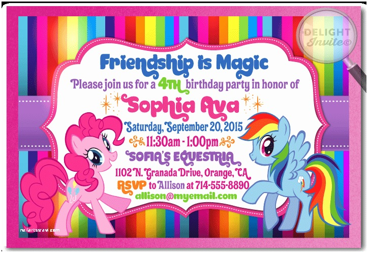 36 My Little Pony Birthday Invitations