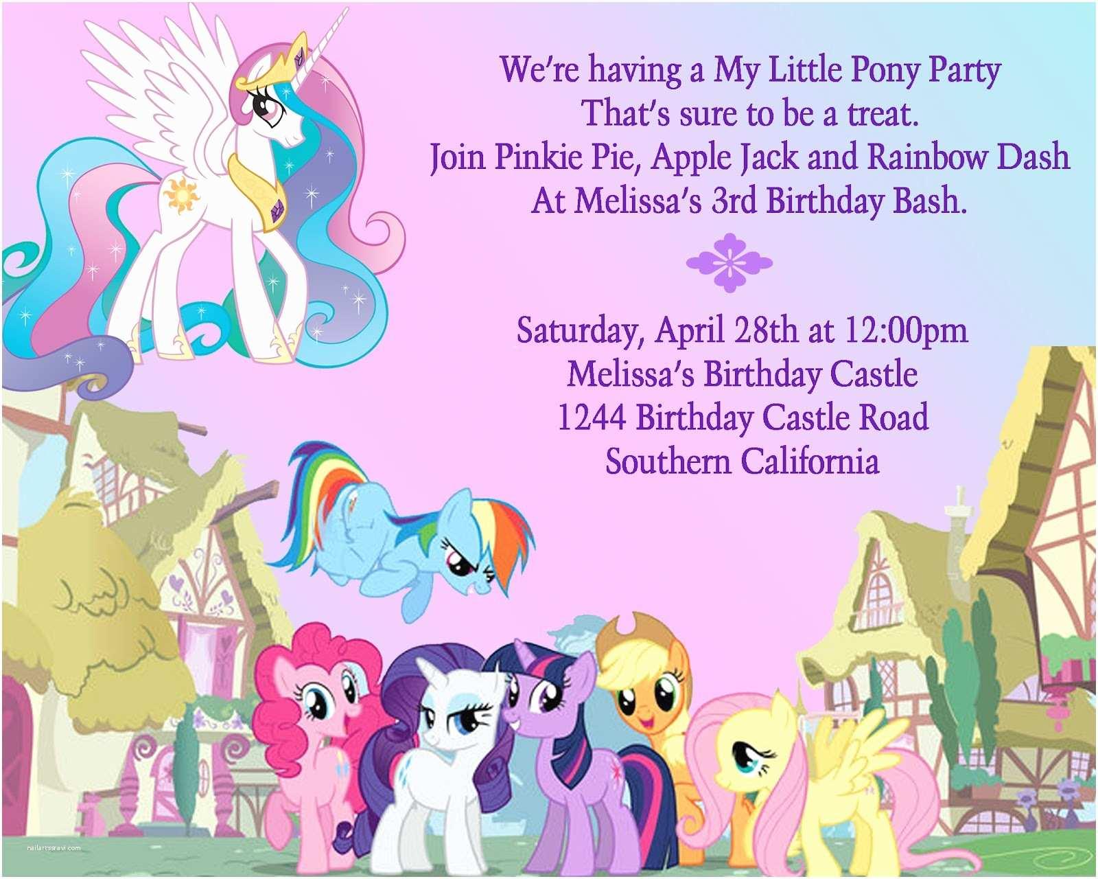 My Little Pony Party Invitations Birthday Party Ideas My Little Pony Birthday Party