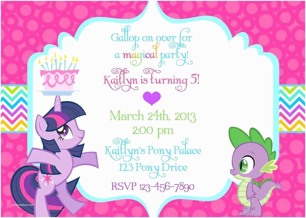 My Little Pony Party Invitations My Little Pony Birthday Invitation Wording