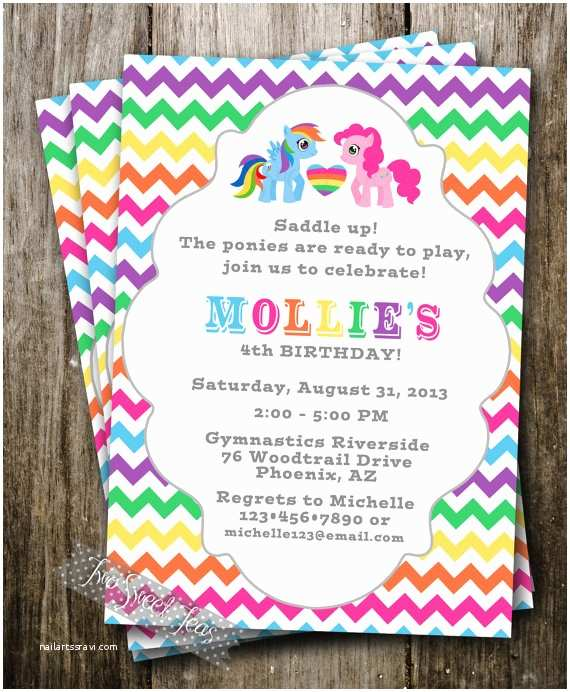My Little Pony Party Invitations My Little Pony Inspired Invitation Party Raindow by 2sweetteas